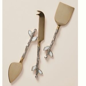 Anthropologie Finn Cheese Knives gold silver pearl